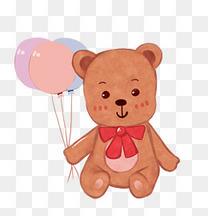 儿童节卡通手绘可爱小熊布偶