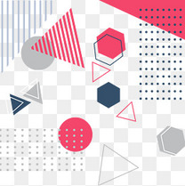 孟菲斯风格线条点线面不规则几何形状素材元素