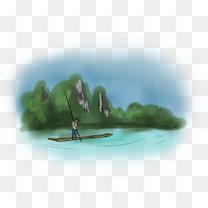 中国水墨手绘竹筏