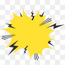 黄色创意卡通闪电对话框
