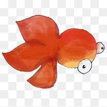 手绘水彩红色金鱼png