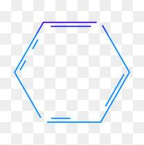 蓝色紫色科技感外发光几何方形六边形边框