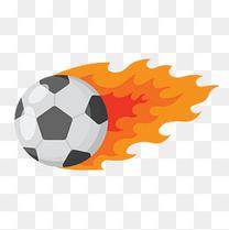 世界杯手绘火焰足球免扣素材