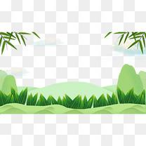 端午节粽子粽叶绿色主题边框