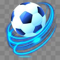 蓝色漂亮特效世界杯足球火球