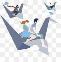 乘着纸飞机飞翔的少年少女矢量免扣图