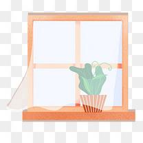 手绘窗户上的盆栽免费下载