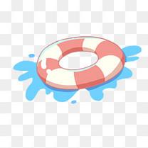 夏日海边休闲游泳圈插画