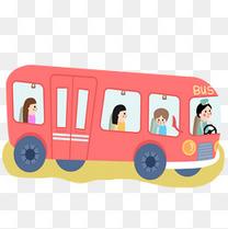 卡通红色公交车元素