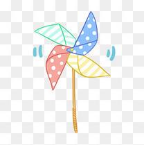 暑假儿童玩具小风车插画