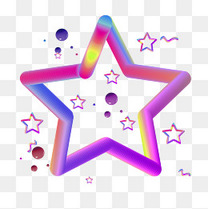 618彩色促销装饰五角星小元素多边形c4d