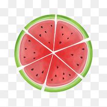 夏季 暑假到来 透明背景 小清新 水果 西瓜