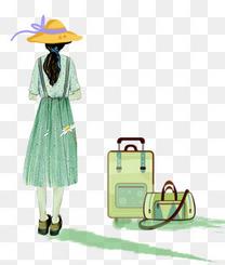 青春旅行卡通手绘行李