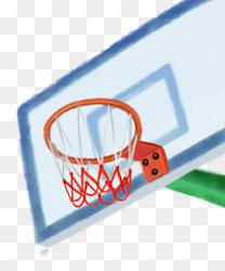 毕业季青春水彩学校运动篮球架