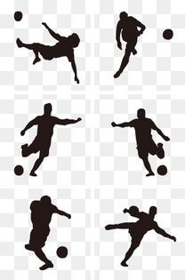 俄罗斯世界杯黑色卡通手绘足球运动员剪影