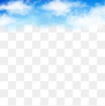 水彩手绘蓝天白云