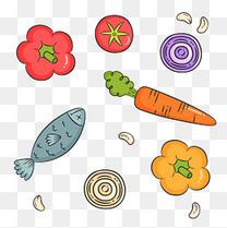 彩色手绘卡通蔬菜元素