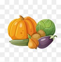 手绘卡通新鲜蔬菜