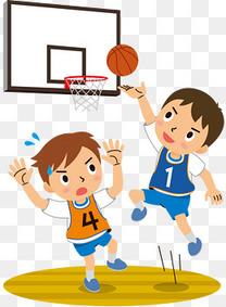 手绘卡通打篮球的少年