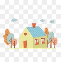 手绘卡通房子元素