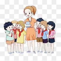手绘卡通教师节老师和学生