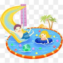 水上乐园游泳插画
