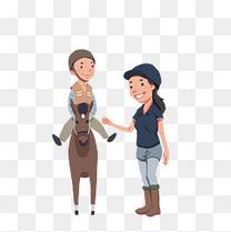 唯美可爱纯色卡通亲子骑马旅游元素下载