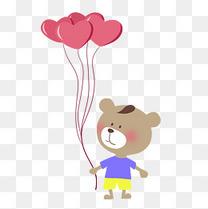 卡通手绘可爱小熊爱心气球