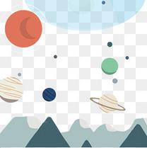 手绘卡通宇宙小星球