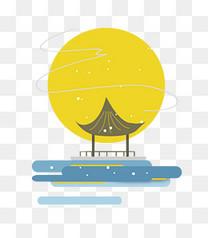 中秋节扁平中国风月亮和亭子