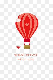 热气球扁平化PNG图片