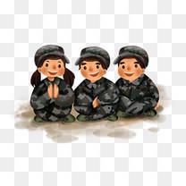 手绘学校军训学生