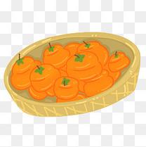 成熟的柿子手绘插画