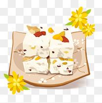 手绘重阳节重阳糕菊花