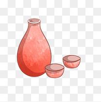 酒壶手绘卡通插画