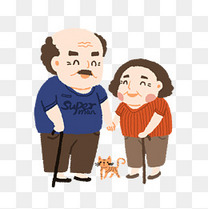 重阳节老年人可爱卡通风格插画