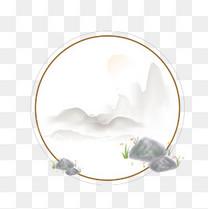 中国风边框装饰水墨风古风石头山水画