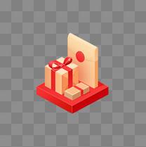 优惠活动礼盒金色红的等轴扁平化金融电商礼盒png