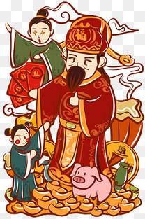 手绘卡通新年财神爷送财童子图