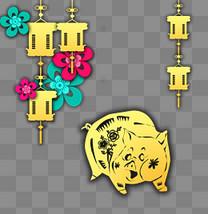 立体剪纸金猪花朵灯笼插画