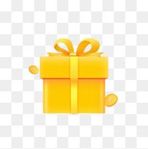 礼物优惠庆典金币礼盒金色黄色金黄色金融活动电商