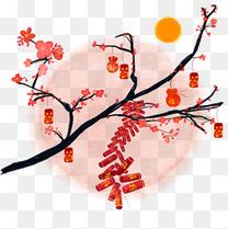 中国风水墨水彩梅枝新年鞭炮春意闹原创手绘免抠高清图