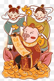 手绘卡通猪年财神猪送财童子图