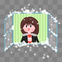 冬天冬季开窗户赏雪下雪手绘插画