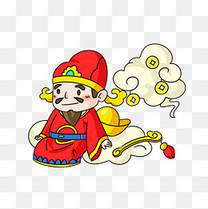 春节红色坐在元端上的财神爷