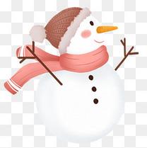 手绘卡通带围巾和帽子的雪人