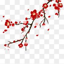 水墨复古中国风花枝插画