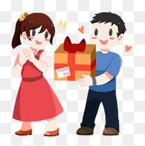 感恩节彩色手绘卡通送礼物插画