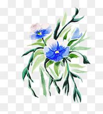 水彩手绘紫蓝色花束png