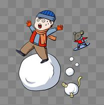 滚雪球的小男孩插画